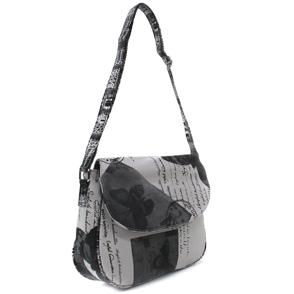 Šedočerná klopnová dámská kabelka s potiskem Josalyn