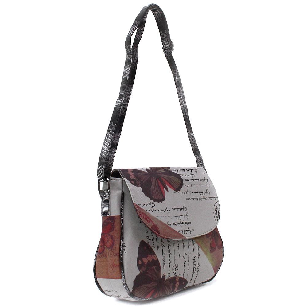 Šedočervená klopnová dámská kabelka s potiskem Josalyn