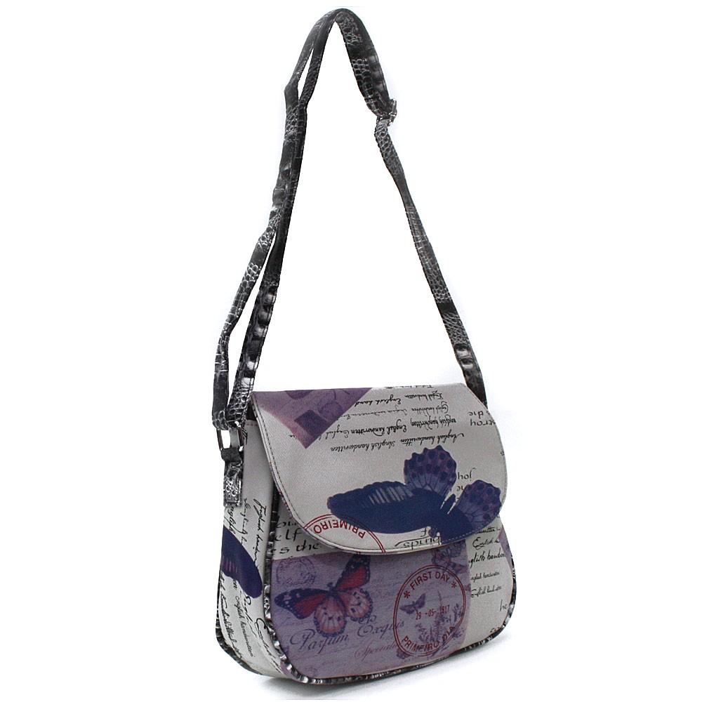 Šedomodrá klopnová dámská kabelka s potiskem Josalyn