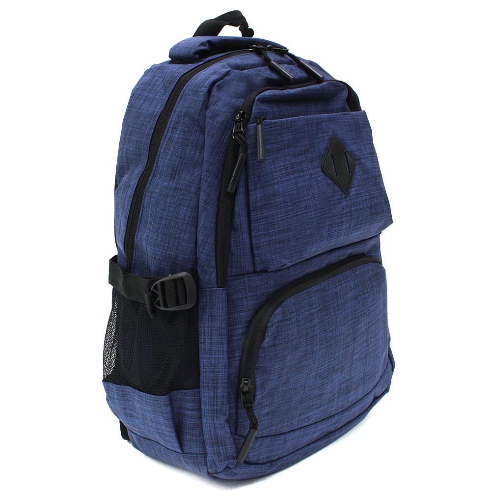 Tmavě modrý studentský prostorný zipový batoh Maxton