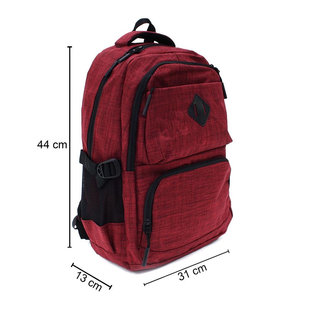 Červený studentský prostorný zipový batoh Maxton