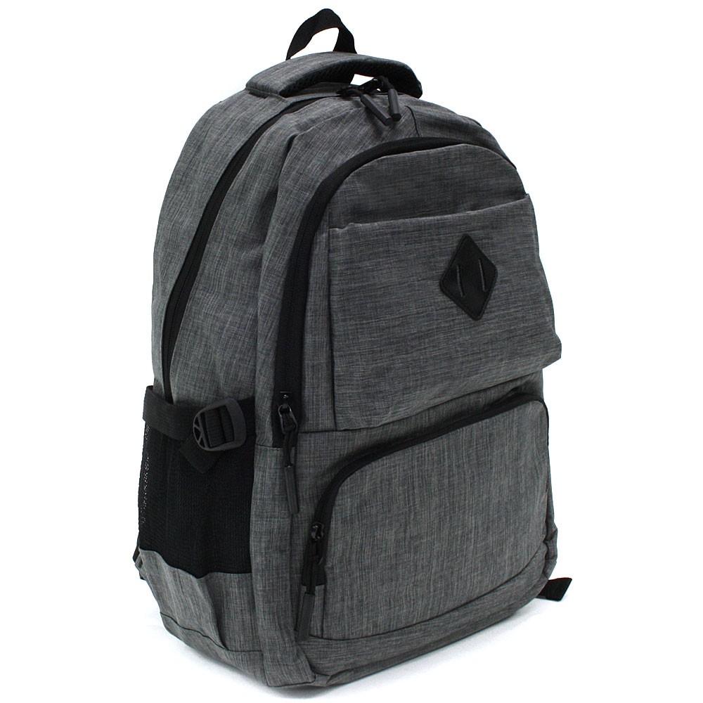 Tmavě šedý studentský prostorný zipový batoh Maxton