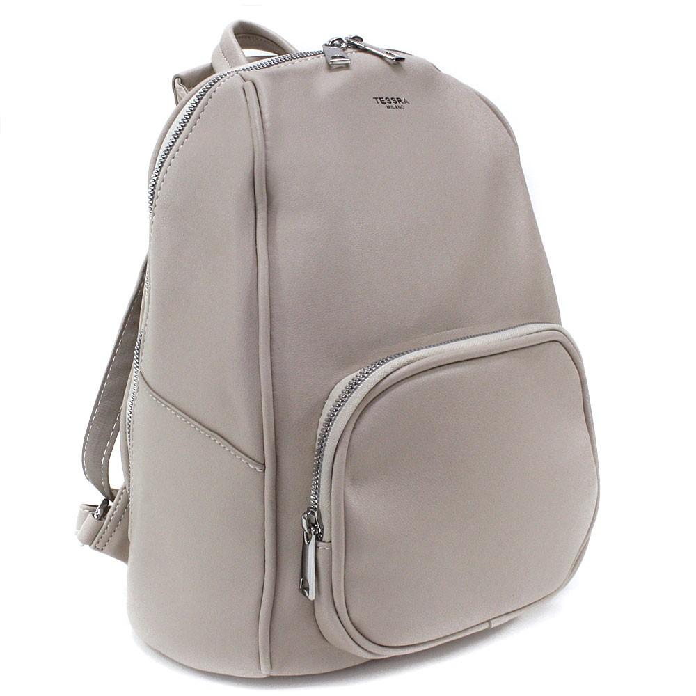 Béžový stylový dámský zipový batoh/kabelka Alexis