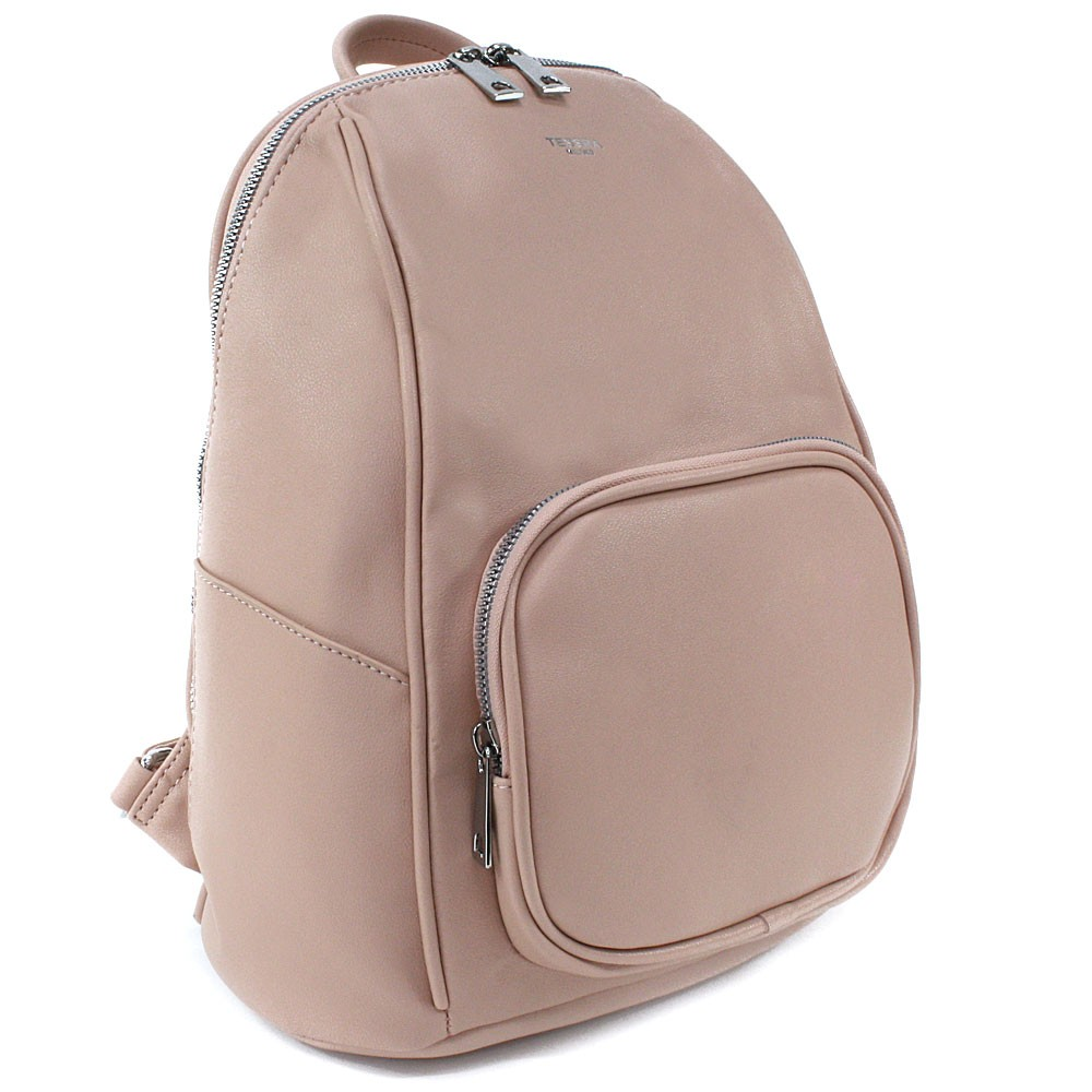 Světle růžový stylový dámský zipový batoh/kabelka Alexis