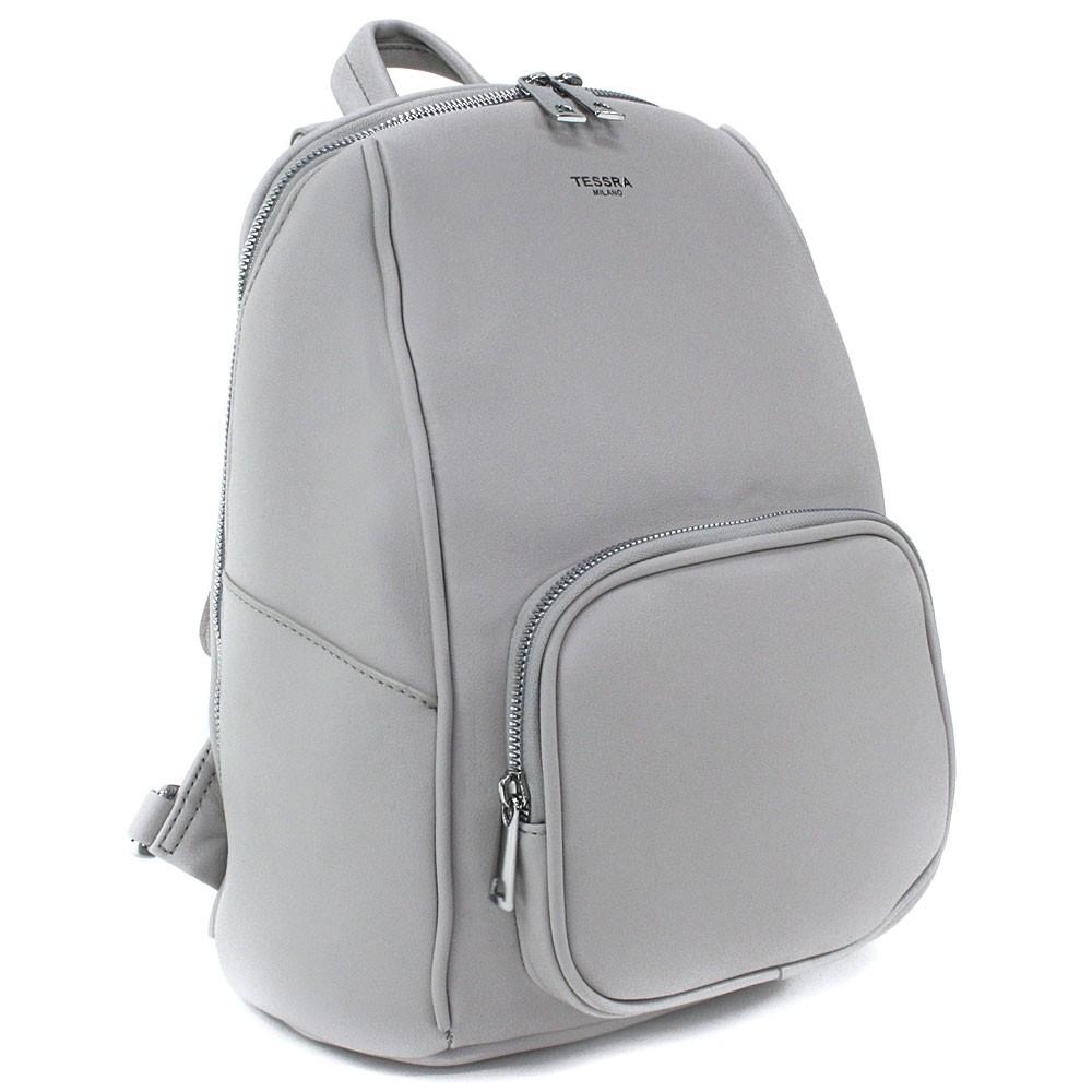 Světle šedý stylový dámský zipový batoh/kabelka Alexis