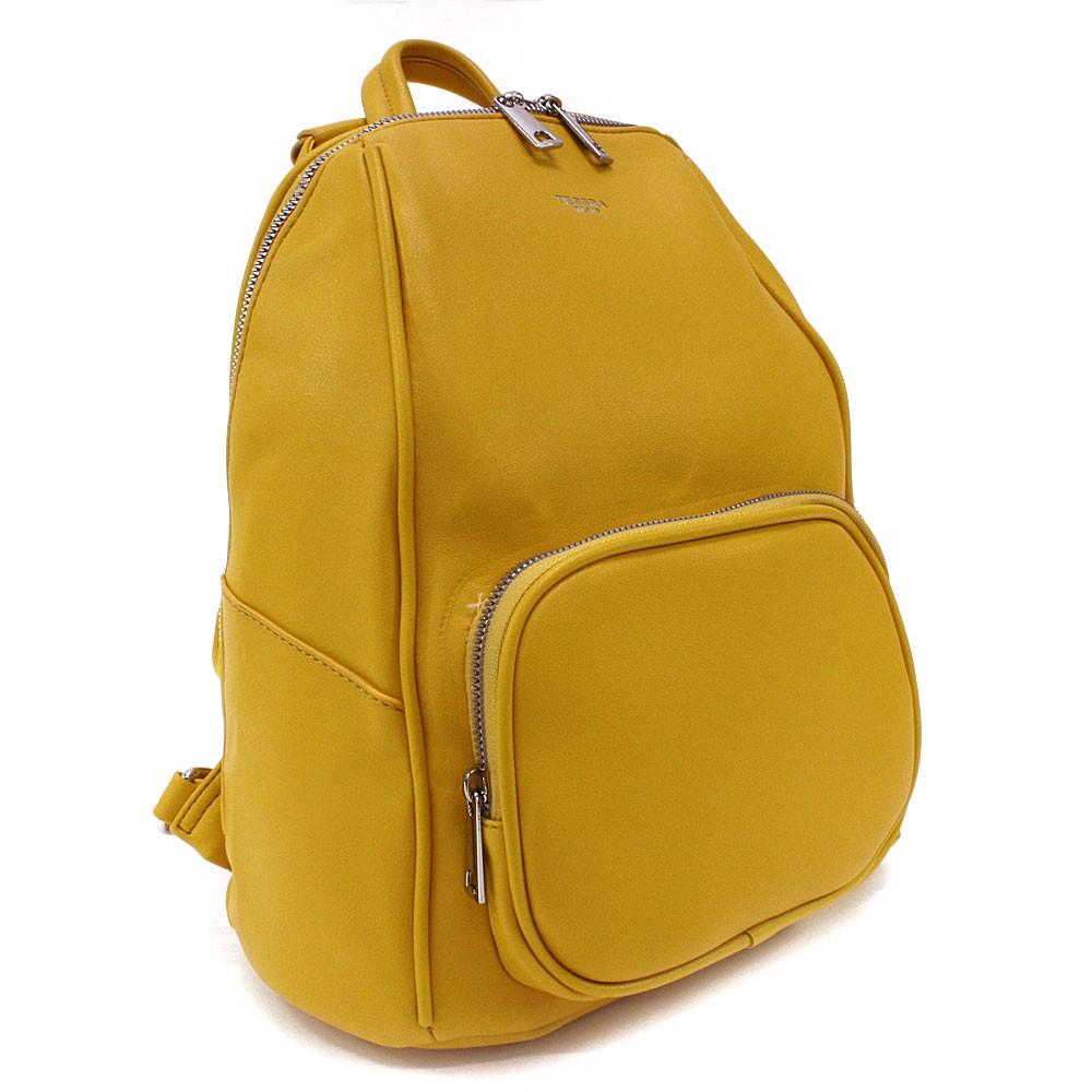 Žlutý stylový dámský zipový batoh/kabelka Alexis