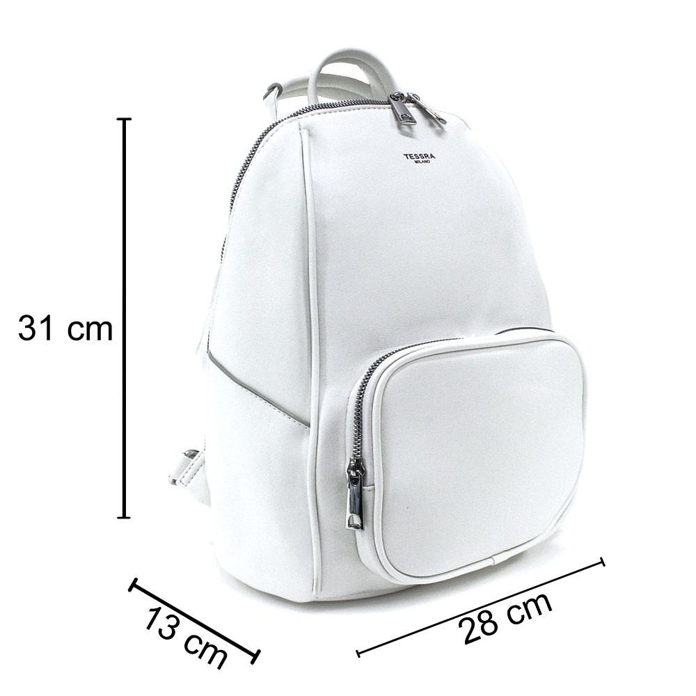 Bílý stylový dámský zipový batoh/kabelka Alexis