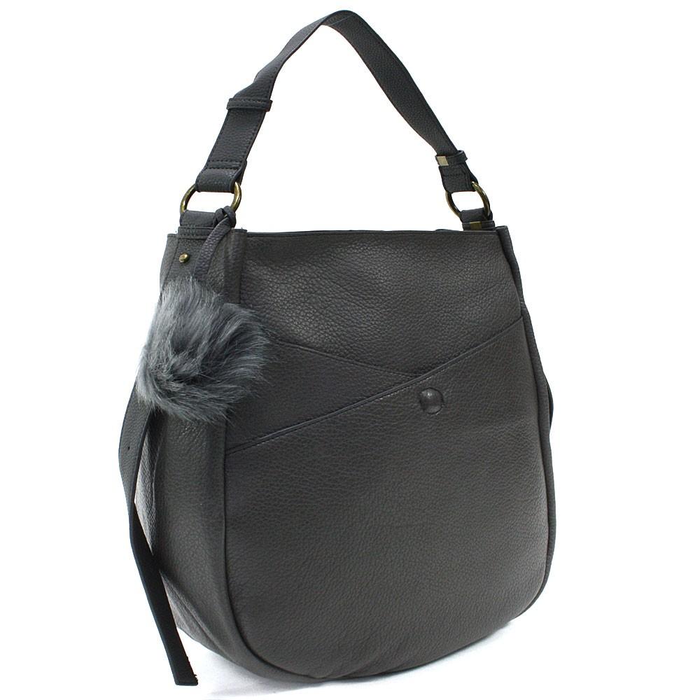 Tmavě šedá prostorná dámská kabelka Carressa