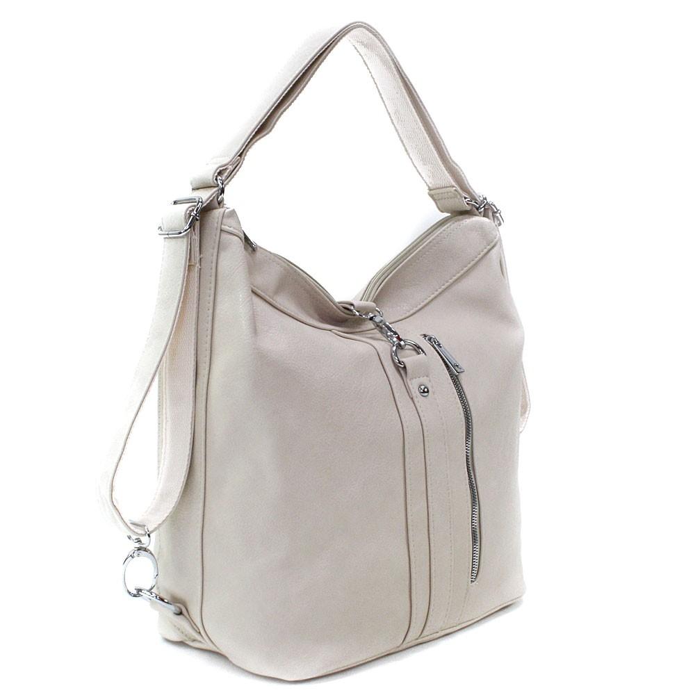 Světle béžová dámská kabelka v kombinaci batohu Bailee