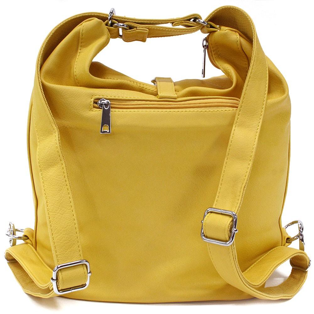 Žlutá dámská kabelka v kombinaci batohu Bailee