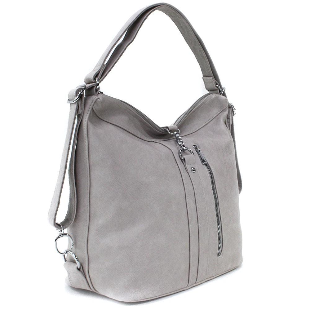 Světle šedá dámská kabelka v kombinaci batohu Bailee