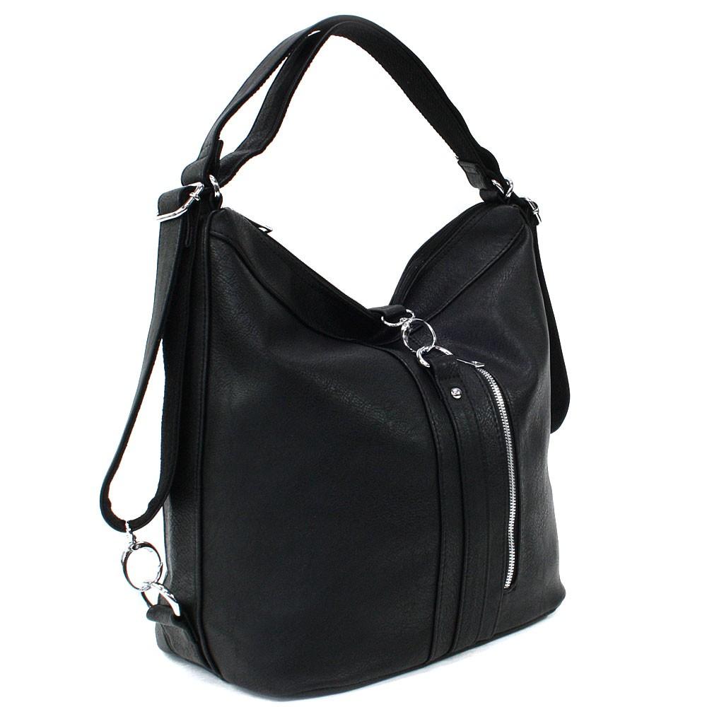 Černá dámská kabelka v kombinaci batohu Bailee