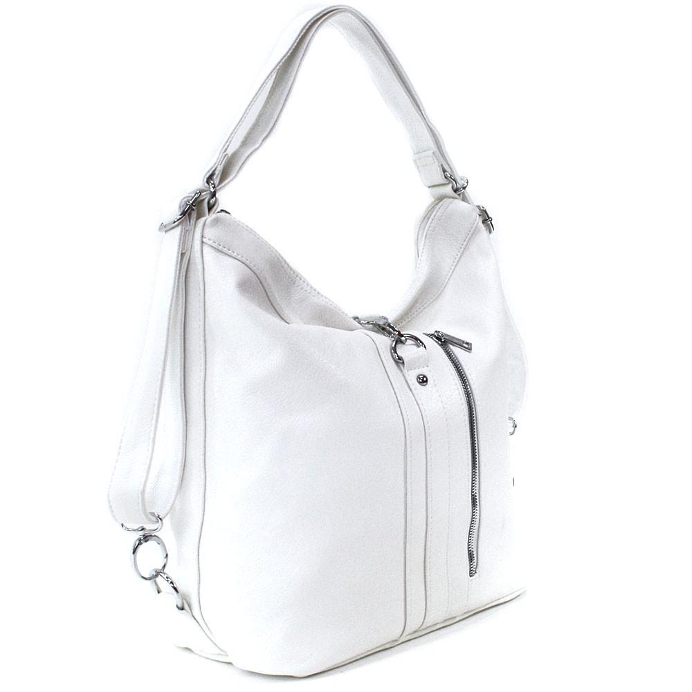 Bílá dámská kabelka v kombinaci batohu Bailee