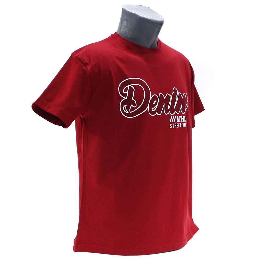Tmavě červené pánské tričko s kulatým výstřihem Keenan