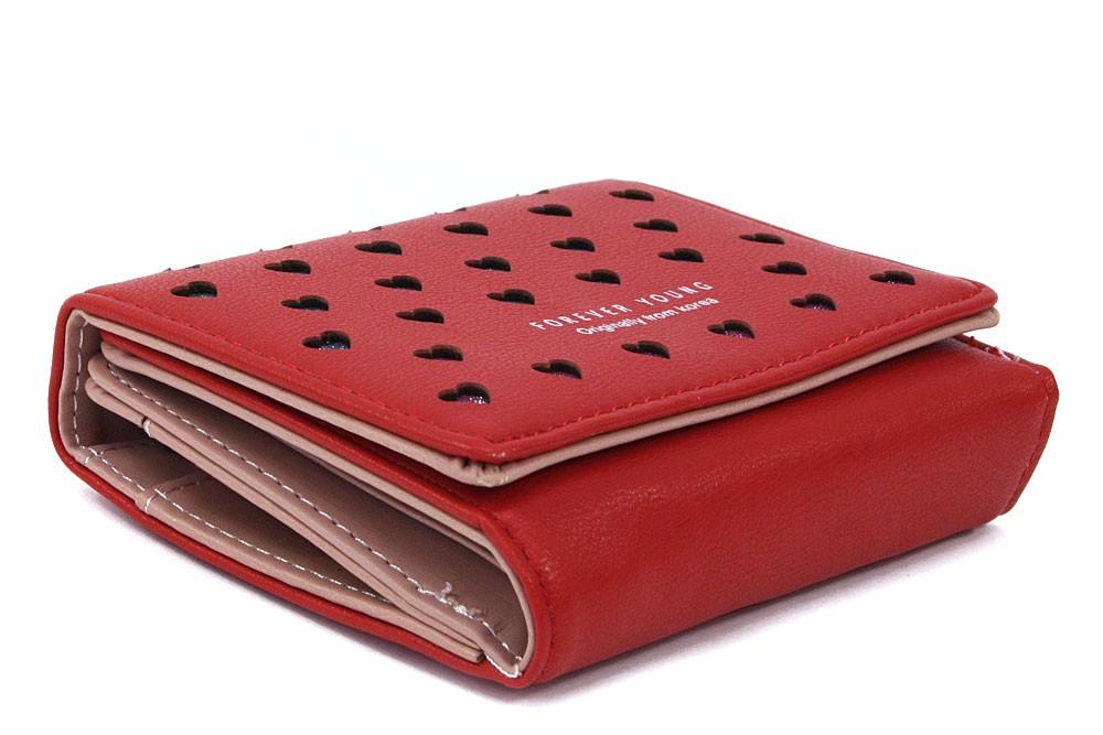 Červená zipová dámská peněženka s klopnou se srdíčky Valerie