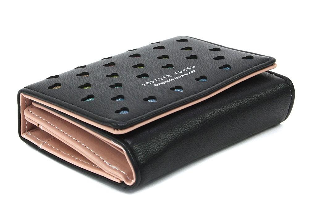 Černá zipová dámská peněženka s klopnou se srdíčky Valerie