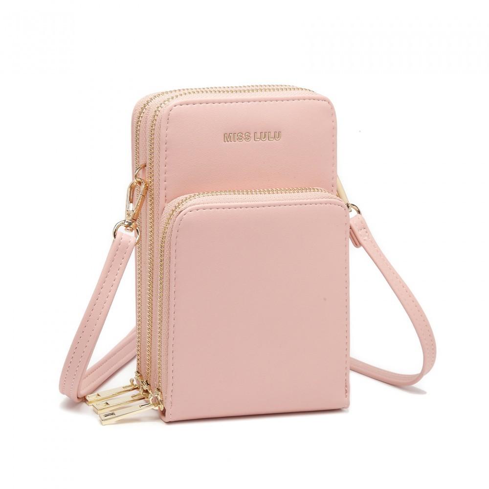 Světle růžová zipová dámská kabelka na rameno Jineen