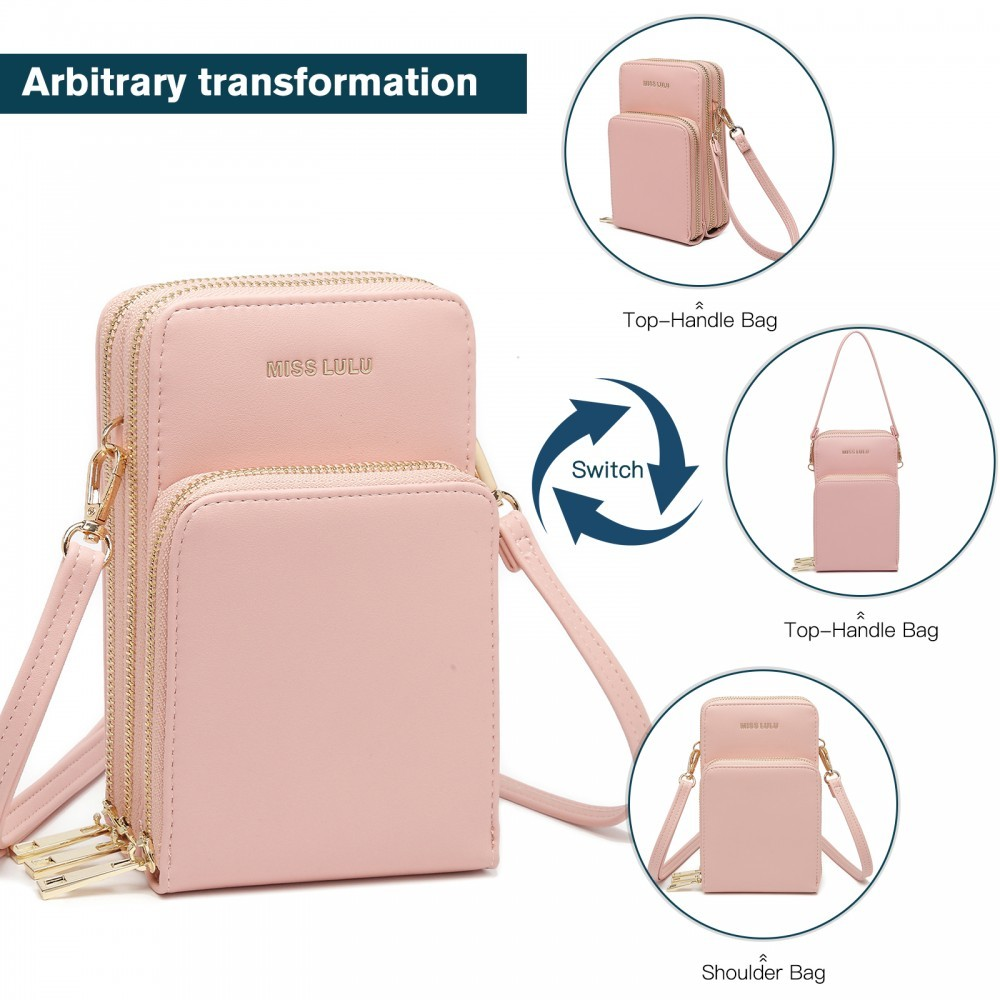 Světle růžová zipová crossbody dámská kabelka Jineen