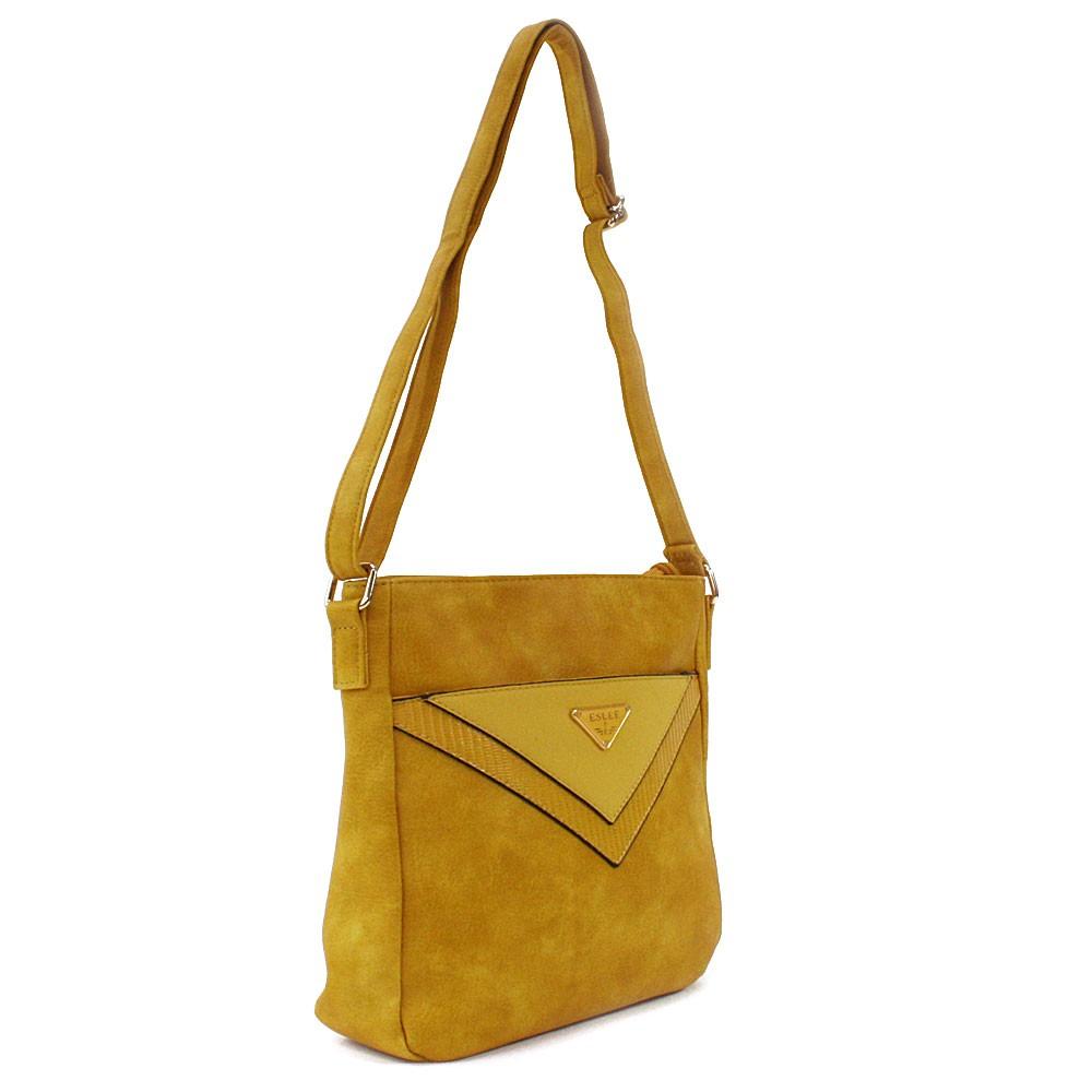 Žlutá menší dámská crossbody zipová kabelka Jocelina