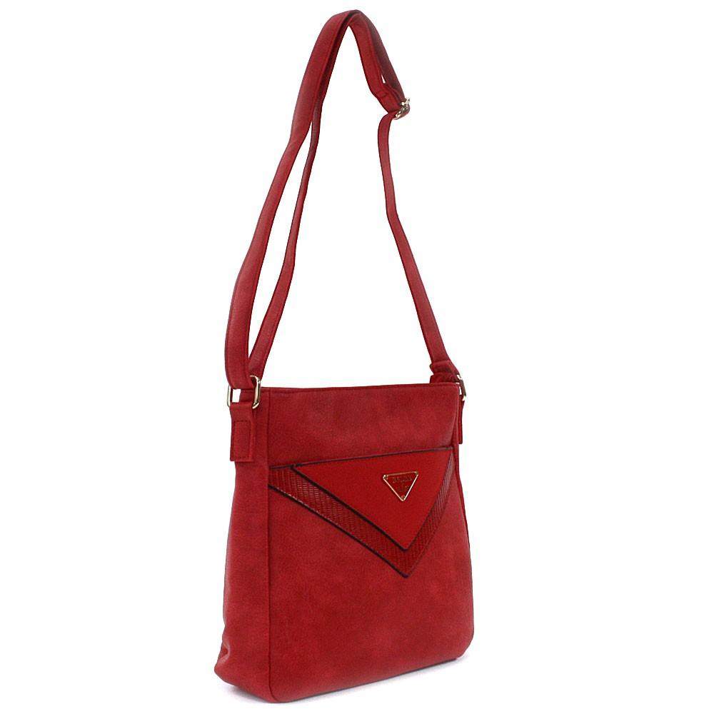 Červená menší dámská crossbody zipová kabelka Jocelina