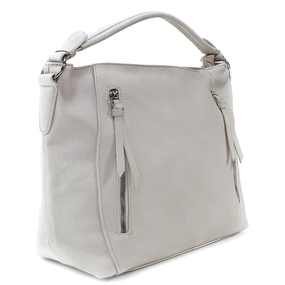 Smetanová zipová dámská prostorná kabelka Jaelynn