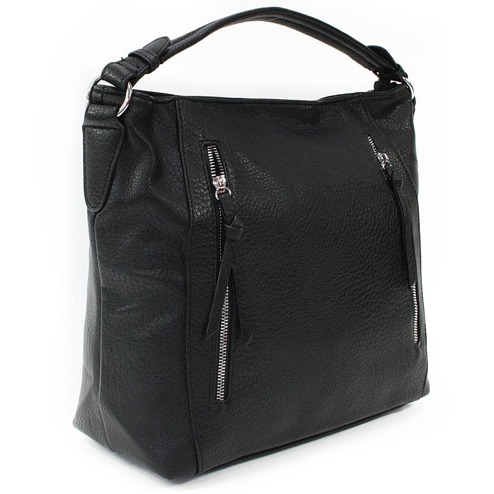 Černá zipová dámská prostorná kabelka Jaelynn