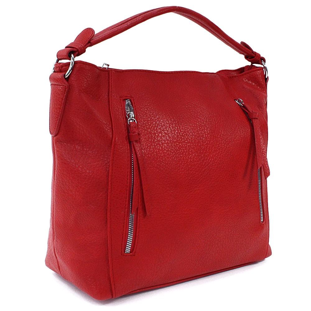 Červená zipová dámská prostorná kabelka Jaelynn