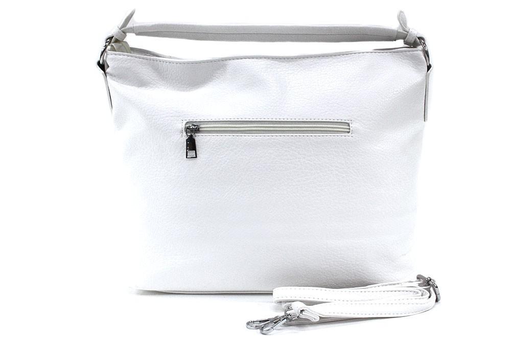 Bílá zipová dámská prostorná kabelka Jaelynn