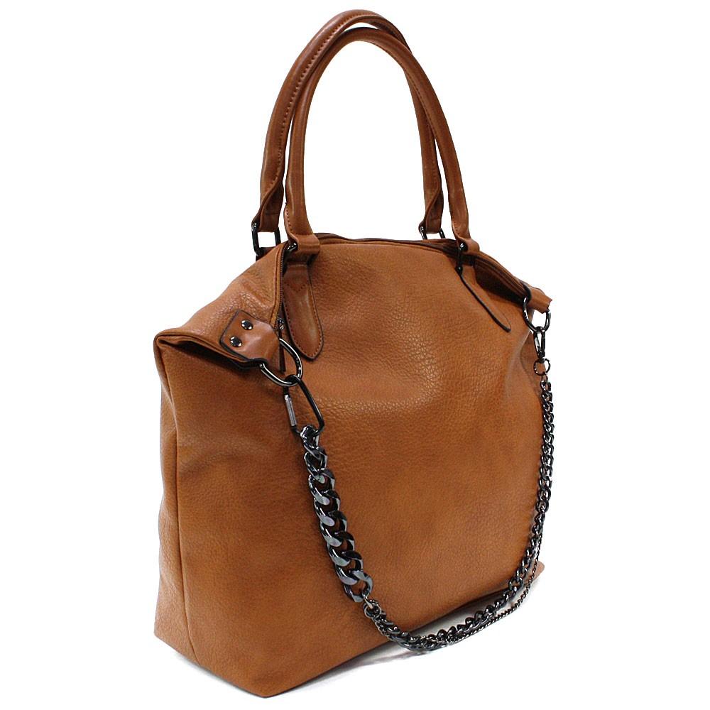 Hnědá velká trendy dámská zipová kabelka Charity