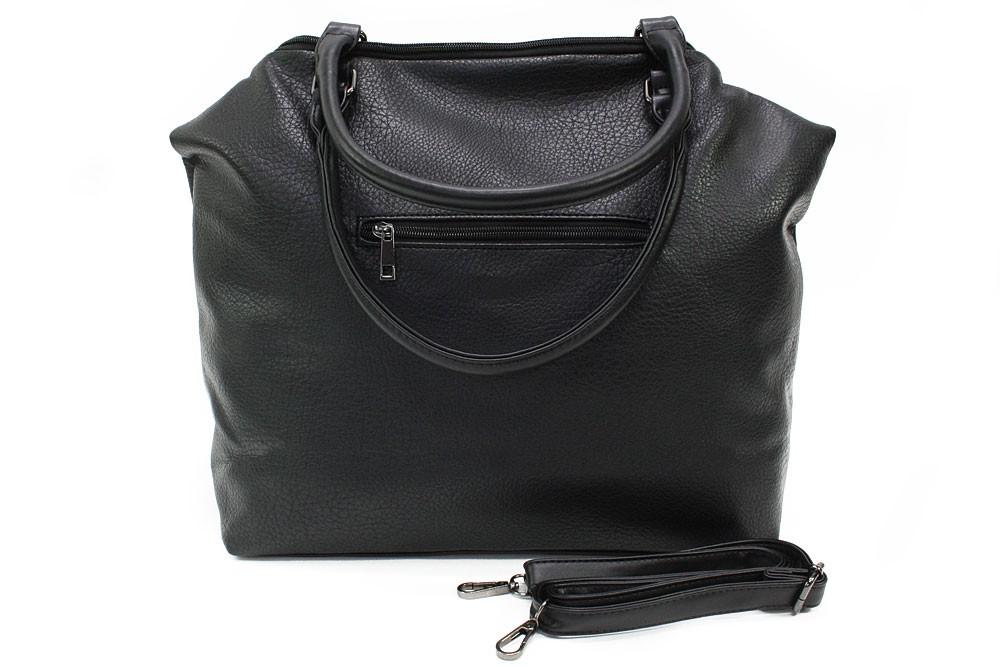 Černá velká trendy dámská zipová kabelka Charity