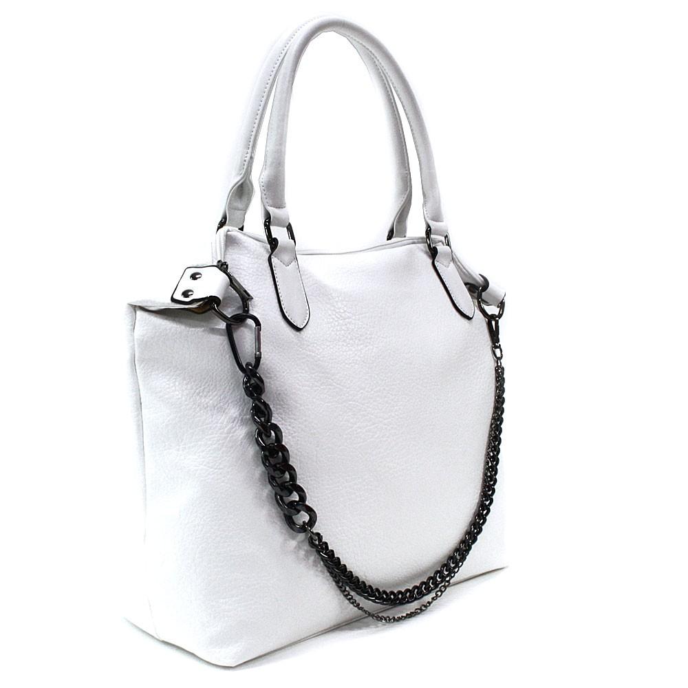 Bílá velká trendy dámská zipová kabelka Charity
