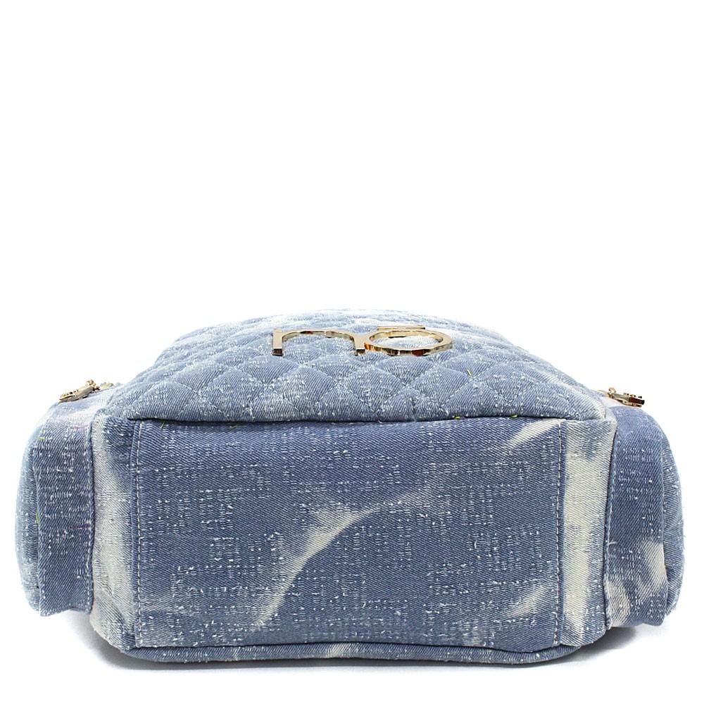 Modrobílý dámský zipový batoh s prošitím Viviana