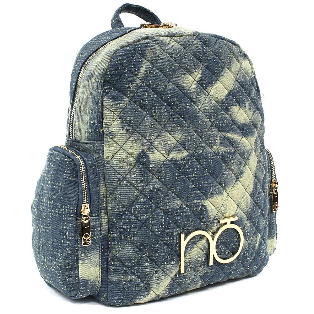 Modrožlutý dámský zipový batoh s prošitím Viviana