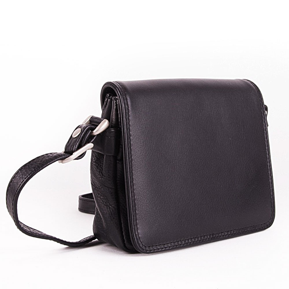 Černá klopnová dámská kožená crossbody kabelka Maxmell