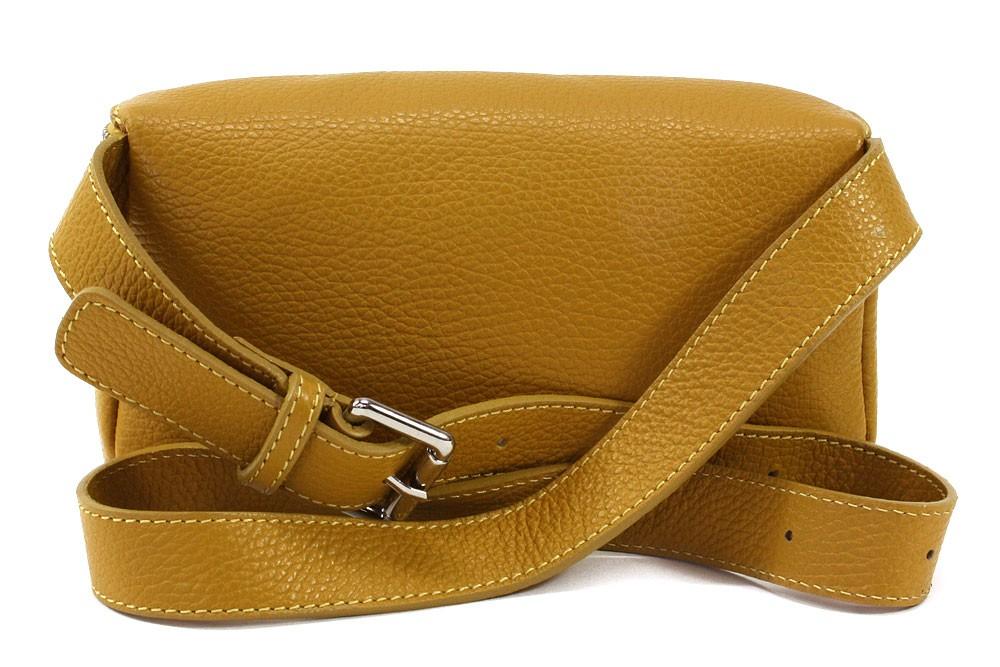 Žlutá dámská kožená mini kabelka ledvinka Henrie