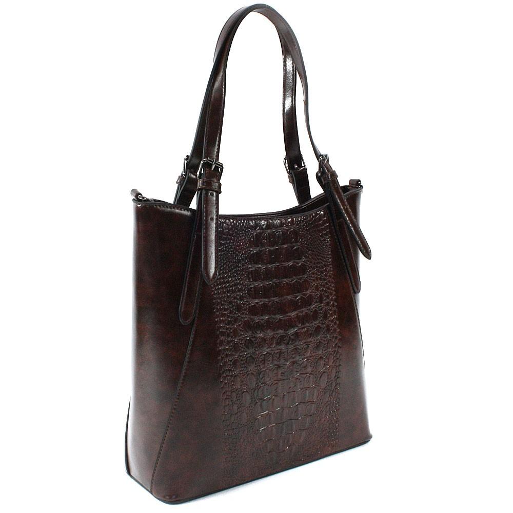 Tmavě hnědá dámská zipová kabelka do ruky i přes rameno Emmitt