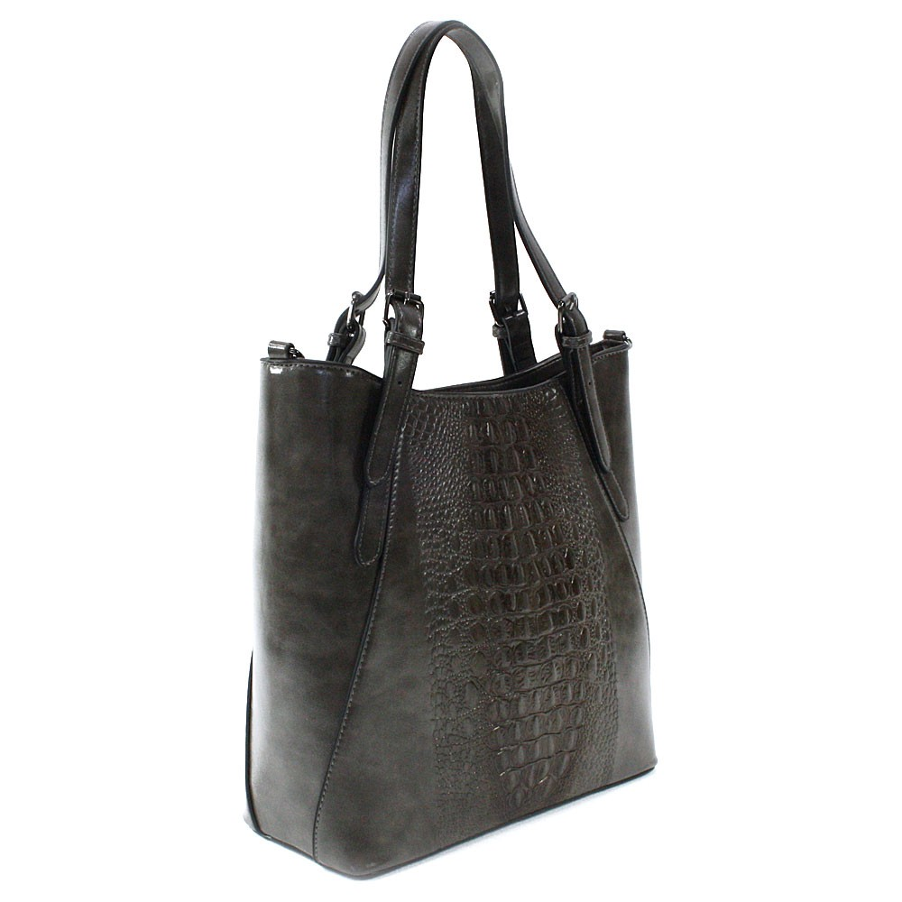 Šedá dámská zipová kabelka do ruky i přes rameno Emmitt