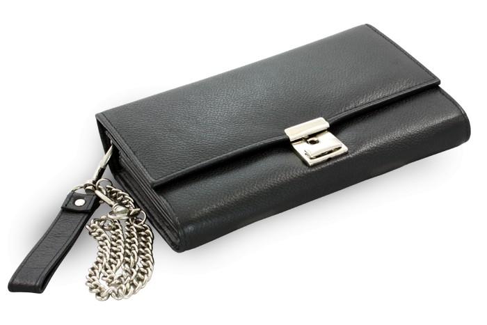 Černá kožená číšnická peněženka Adeline