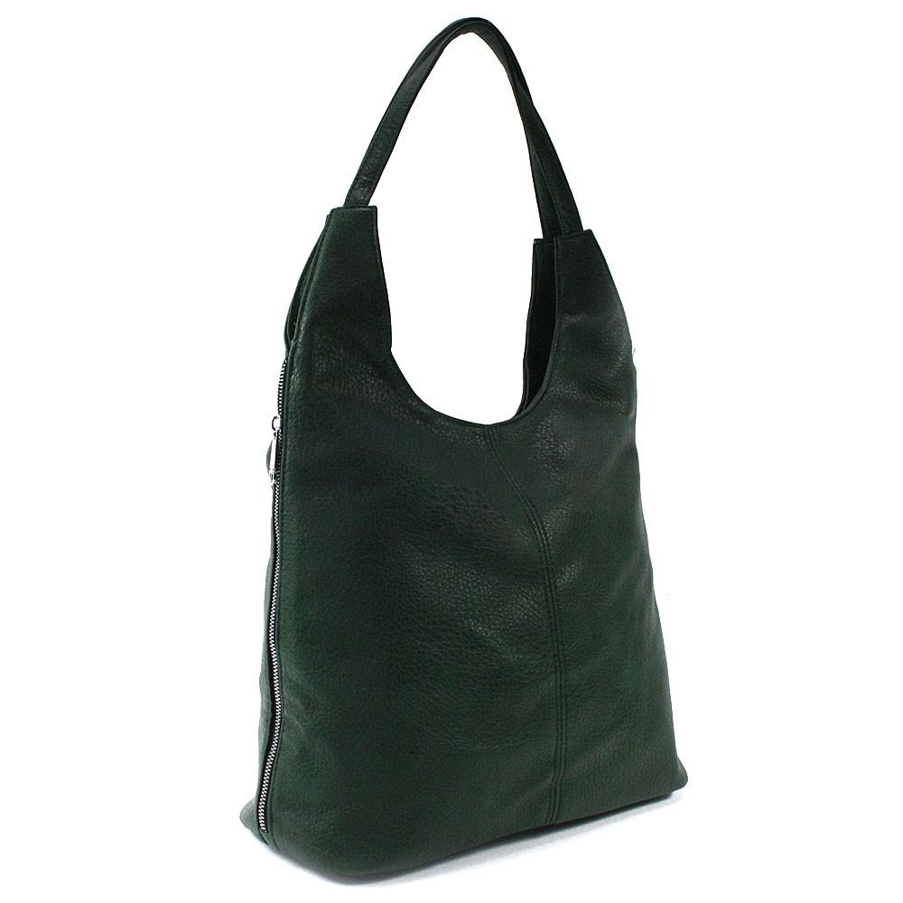 Tmavě zelená prostorná dámská kabelka Jessie