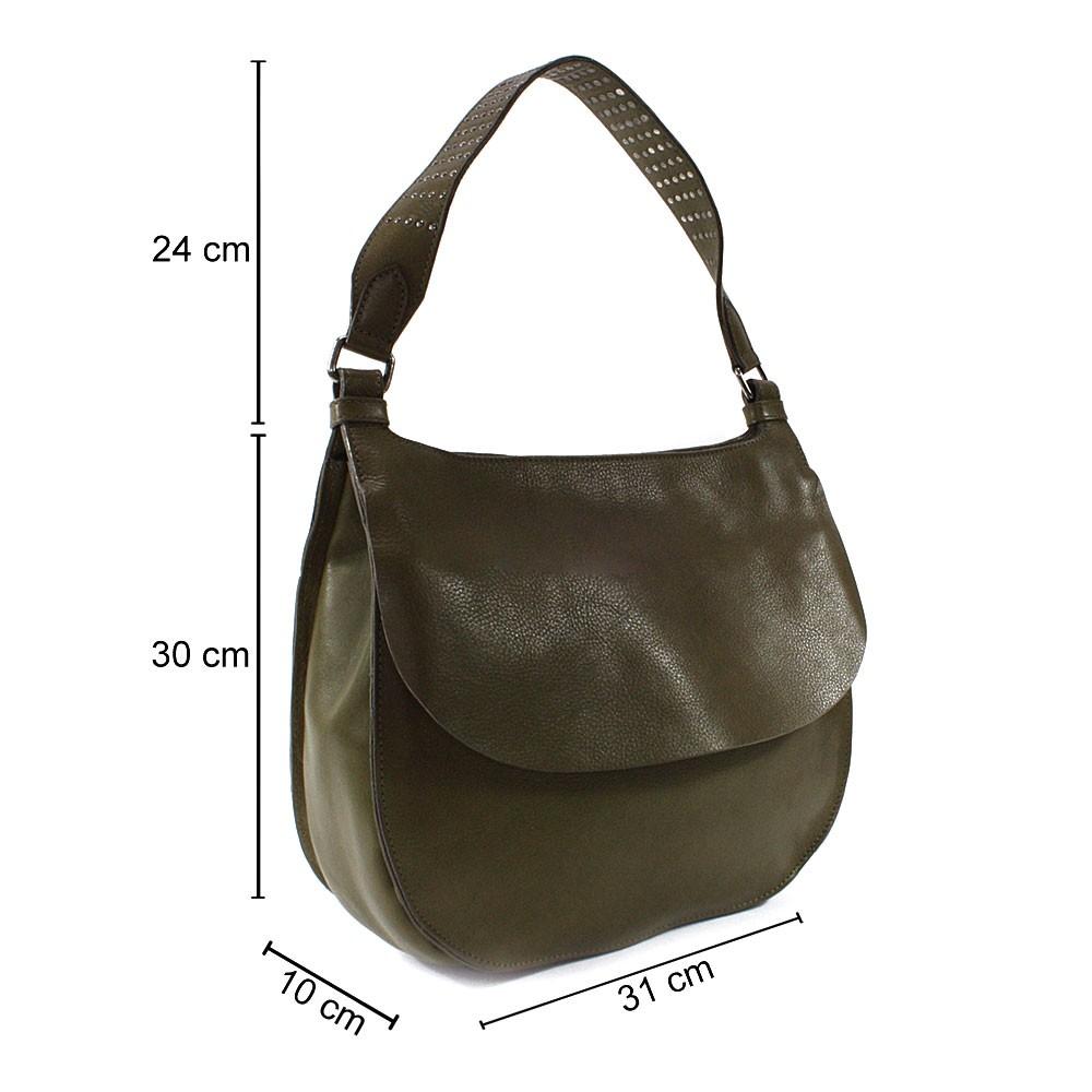 Khaki stylová kožená dámská kabelka přes rameno Krish
