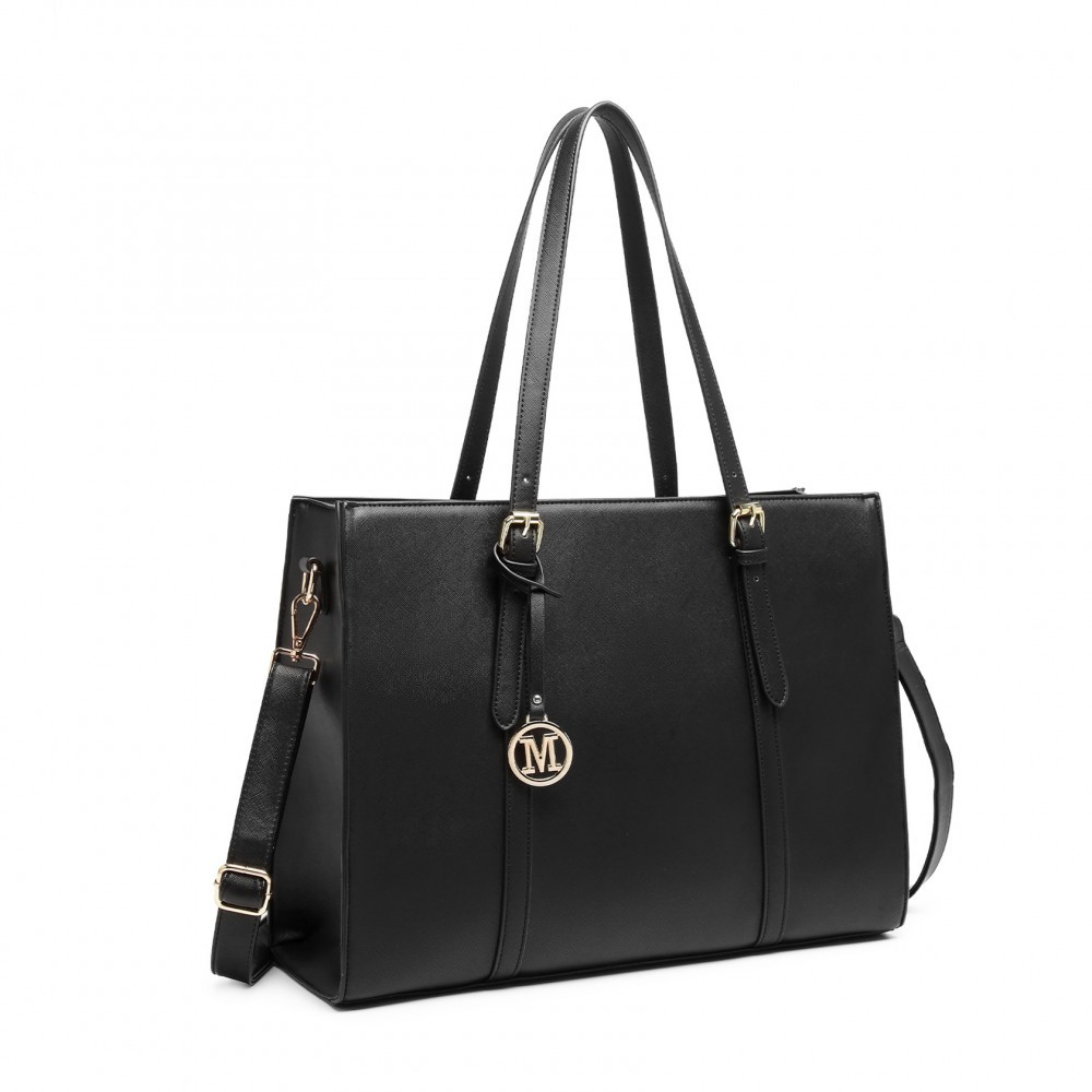 Černá velká zipová dámská kabelka přes rameno Katalina