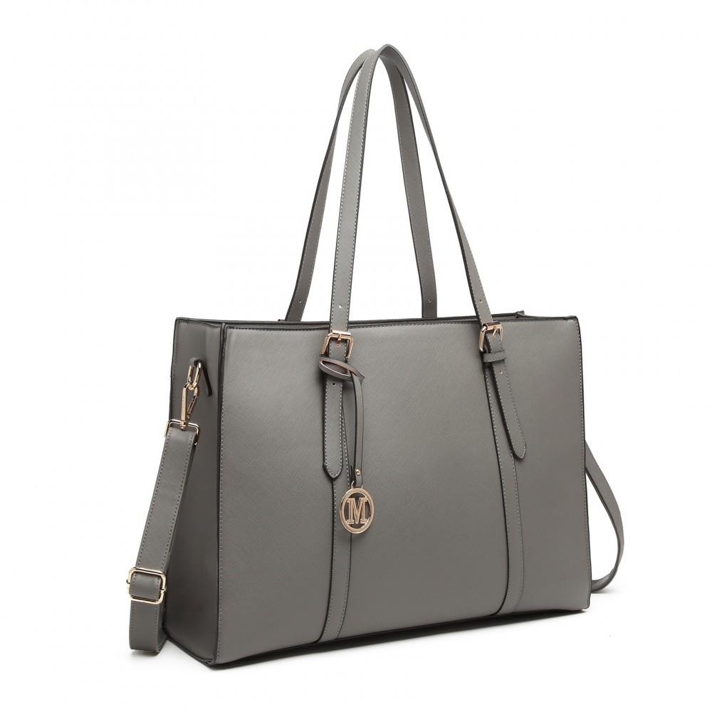 Šedá velká zipová dámská kabelka přes rameno Katalina