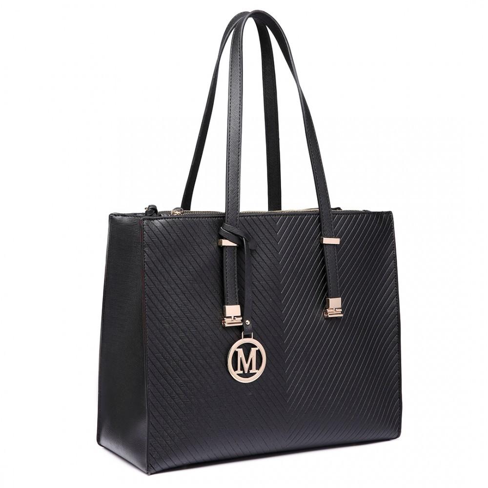 Černá velká dámská zipová kabelka přes rameno Jayde