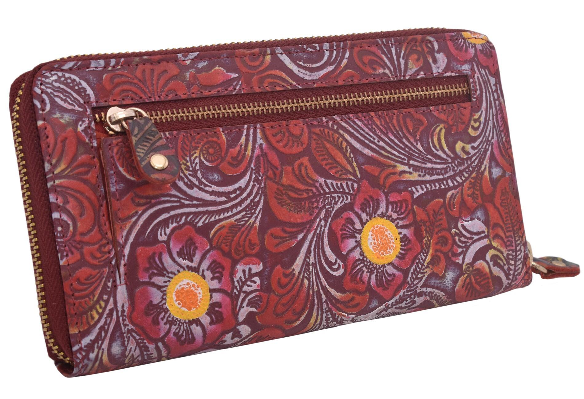 Červená barevná kožená dámská zipová peněženka Journey