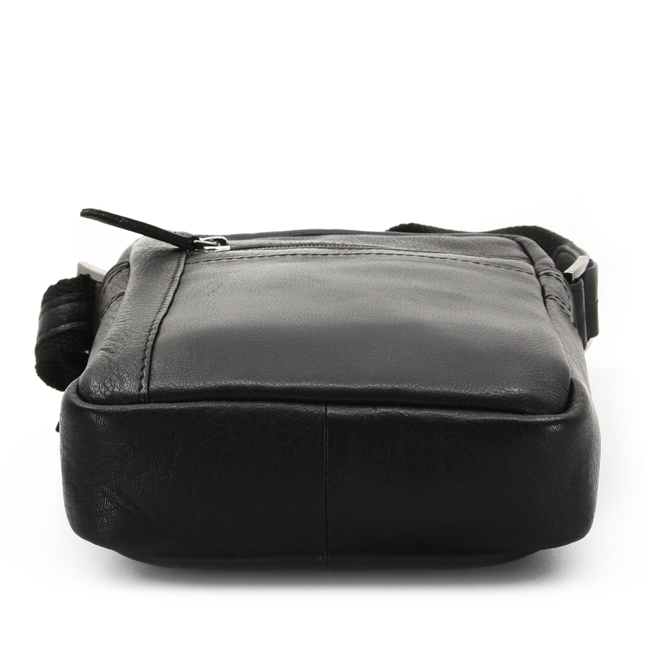 Černá pánská kožená crossbody taška Ourson