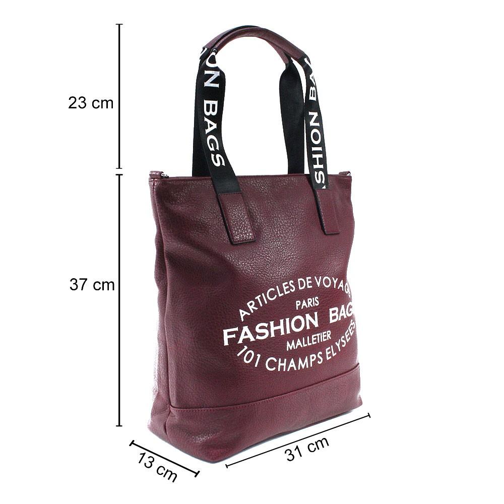 Vínově červená prostorná dámská zipová taška Teige