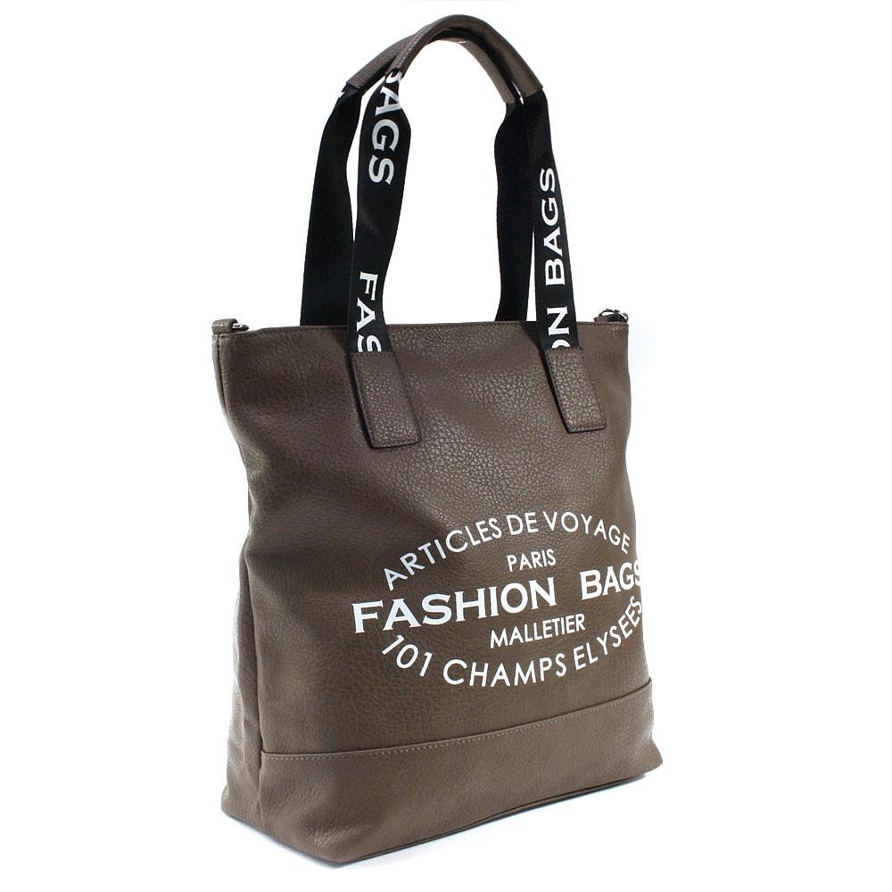 Tmavě hnědá prostorná dámská zipová taška Teige
