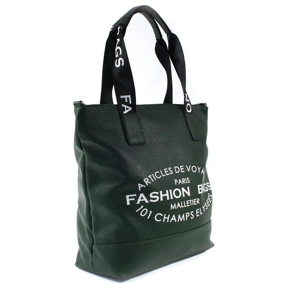 Tmavě zelená prostorná dámská zipová taška Teige