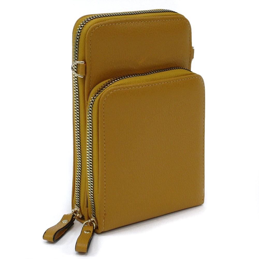 Tmavě žlutá zipová dámská kabelka přes tělo Sanford