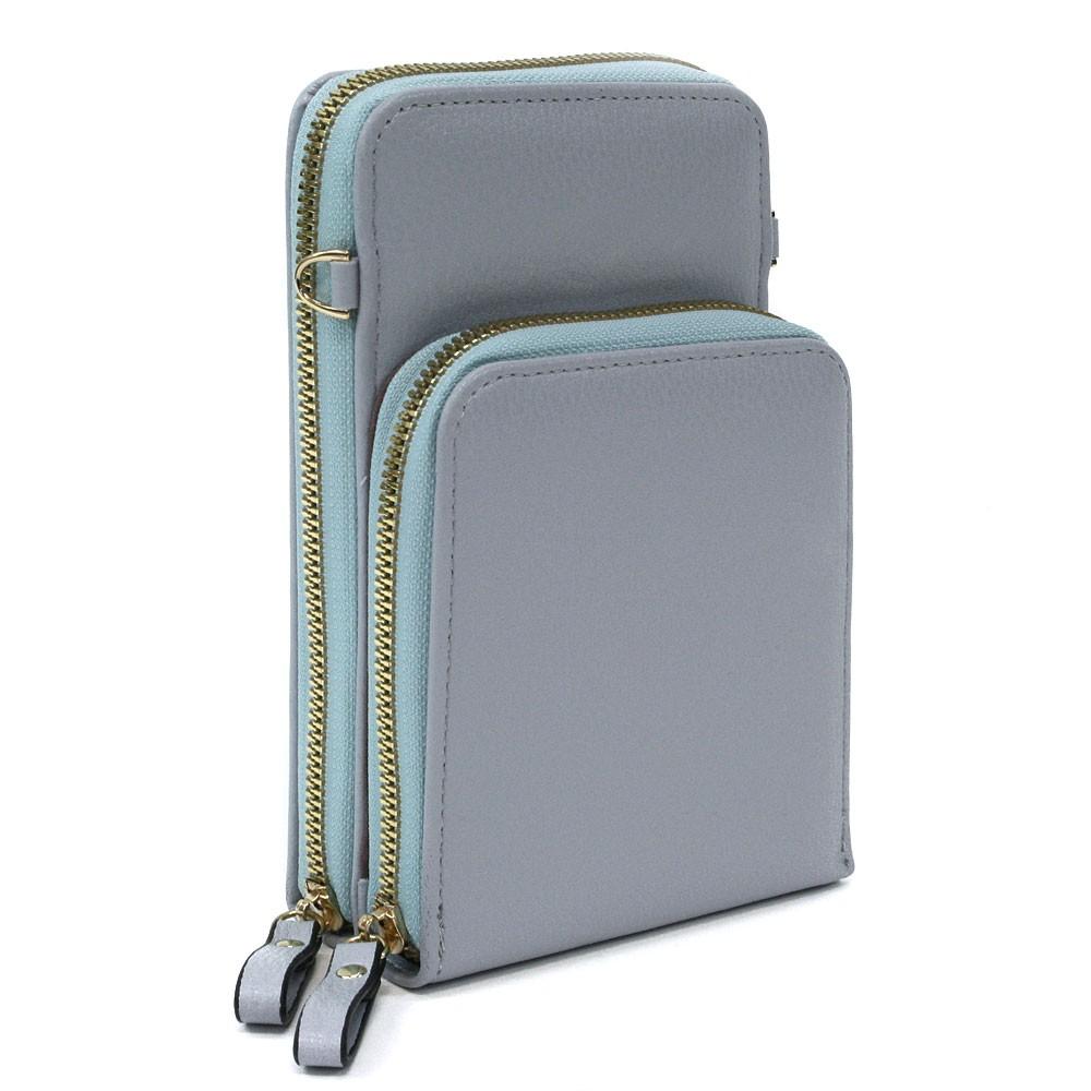 Světle modrá zipová dámská kabelka přes tělo Sanford